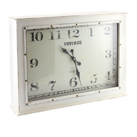 Vintage Distressed Shabby Chic Style Large Cream Wall Clock Freestanding DAMAGED
